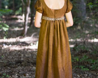 Regency Gown, Jane Austen Costume, Formal Ball Gown, 19th Century Dress, Vintage Saree, Misses 6