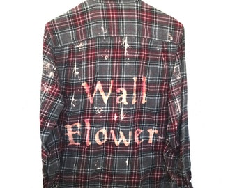 Flannel Wallflower Shirt in Plaid. Grey red perks of being a wall flower book movie tshirt tees shy girl boy hipster quotes dyed bleached