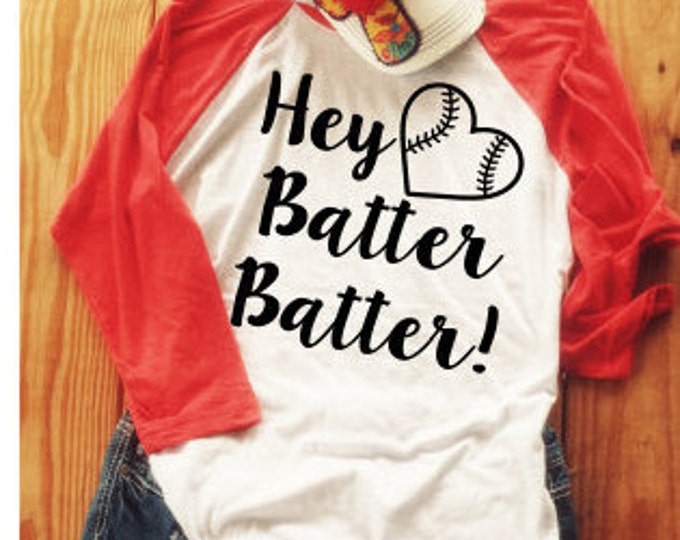 Baseball Mom Shirt, Softball Mom Tee, Glitter Graphic Tee, Baseball Heart Custom Bling Shirt, Hey Batter Batter Baseball Raglan Triblend Tee