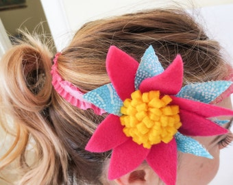 Flower Headband, Pink and Blue, Elastic