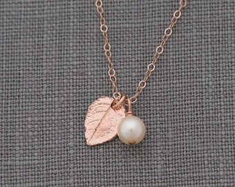 Rose Gold Leaf Necklace, Set of 4, Rustic Bridesmaid Jewelry, Rose Gold and Pearl Necklace, Nature Inspired Jewelry
