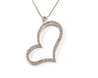 Heart Pendant Necklace with Swarovski Crystals in Silver