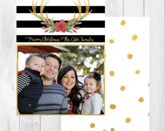 "Photo Christmas Card: Antler Stripes // 5x7"" printable"