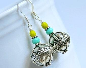 silver drop earrings, bohemian earrings, ornate jewelry, gifts for her