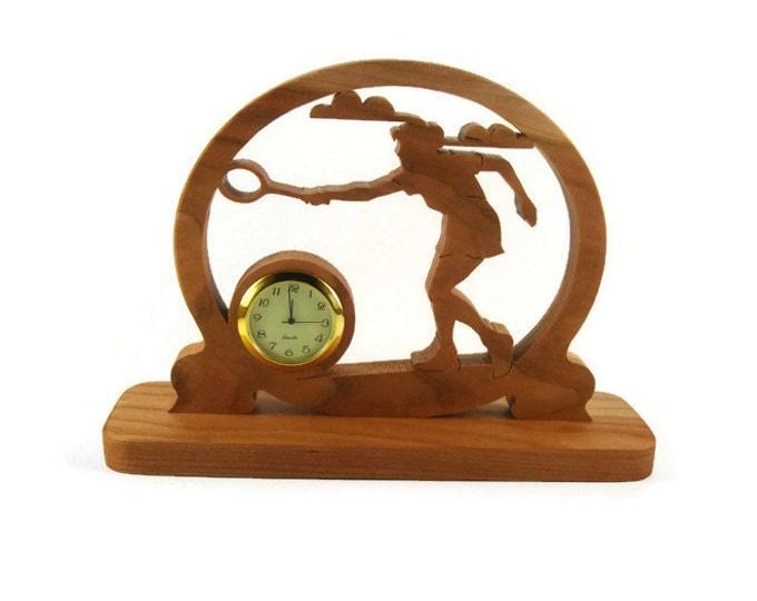 Badminton Desk Clock Handmade From Cherry Wood By KevsKrafts, Tennis, Racquetball, Racketball