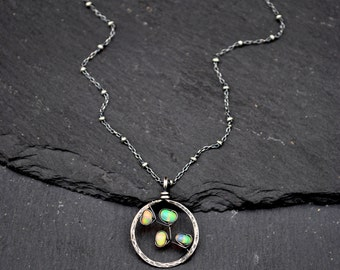 Genuine Opal Necklace, Oxidized Silver Opal Pendant Necklace, AAA Ethiopian Welo Opal Circle Pendant, October Birthstone Necklace