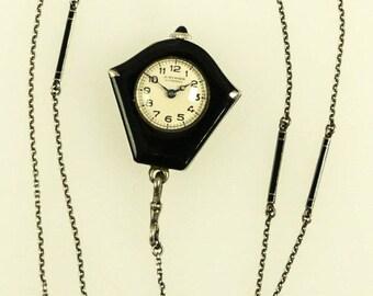 Art Deco Flapper Silver Black Enameled Chain Pendant Watch A Burger Lucerne L3X