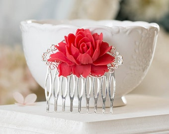 Red Rose Flower Bridal Hair Comb, Red Wedding Silver Filigree Hair Comb, Silver Bridal Hair Comb, Vintage Style Bridal Party Bridesmaid Gift