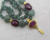 Multicolor Beaded Necklace - Ruby and Aventurine  Necklace - Statement Ruby Necklace