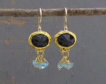 Iolite & Apatite Gold Earrings - 24k Gold Earrings - Gold Apatite Earrings