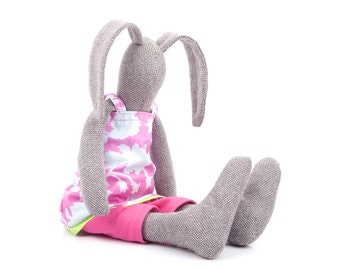 Stuffed eco Easter bunny doll - brown woven softie plush toy , rabbit doll in Pink blue floral Spring dress & pink pants - handmade rag doll
