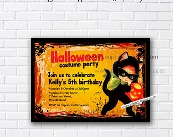 Halloween Party OR  Birthday Invitation OR halloween baby shower , any age, 1st 2nd 3rd 4th 5th 6th 7th 8th - card 829