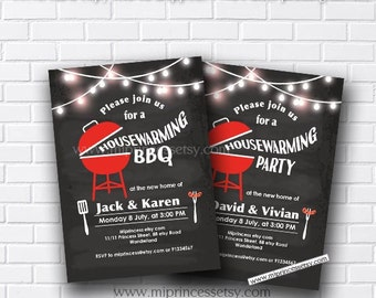 housewarming invitation, bbq invitation, New house Housewarming BBQ gathering party Invitation, chalkboard Backyard, Barbecue - card 596