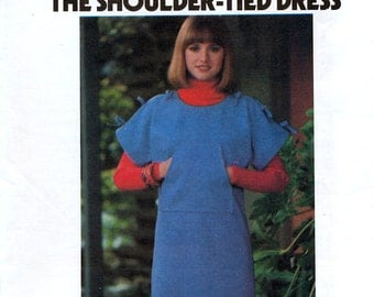 Butterick 4916 Vintage 70s Misses' The Shoulder-Tied Dress Sewing Pattern - Uncut - Sizes Small
