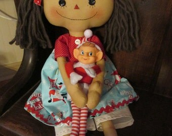 Primitive Raggedy Doll and her Elf doll