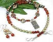 Celtic Knot Necklace, Celtic Knot Jewelry Set, Celtic Knot Beaded Neckace, Gemstone Pearl Necklace, Boho Woodland Celtic Jewelry, Ireland