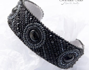 Onyx Bead Embroidered Cuff