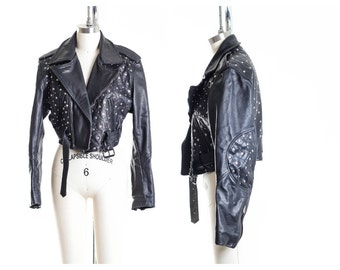 70s Vtg Cropped Studded Leather Motorcycle Biker Jacket Size Medium