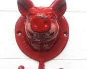 Rustic Shabby Chic Cottage Decor ,Apron Hanger,Pig Wall Decor ,Decorative Wall Hook ,French Cottage Kitchen ,Americana Decor ,Red Distressed