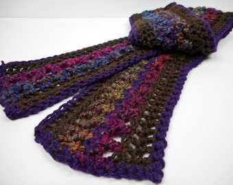 Gold Glitter Multicolor Purple Brown Striped Crochet Scarf