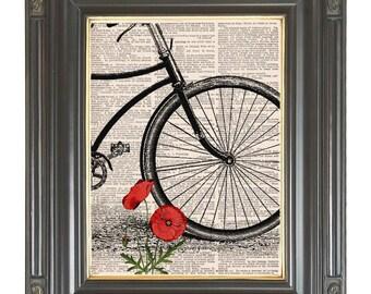 Vintage bicycle wall art print on dictionary or music page Red poppy Dictionary art print Wall decor Digital art print Sheet music No. 234