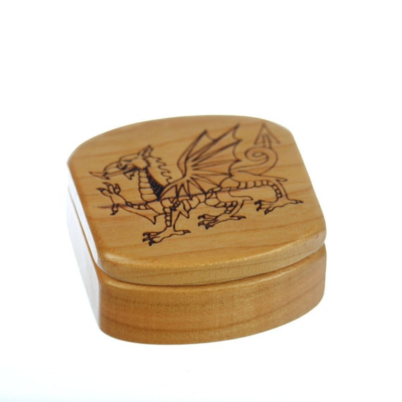 "Dragon Wooden Box, Solid Cherry, Pattern MS28 Dragon, 1-3/4""L x 1-7/8""W x 7/8""D, Paul Szewc, Masterpiece Laser"