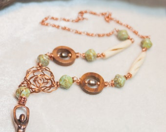 Copper Goddess Necklace Goddess of the Falling Leaves Vintage Green Czech Glass Carved Bone Tubes and Pearls with Copper Wire Art Jewelry