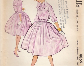 Vintage 1959 McCall's Sewing Pattern 4869 / Misses Shirtwaist Dress / Size 12 Bust 32