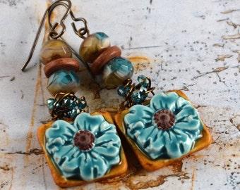 Dried Flowers Rustic Bohemian Blue Brown Ceramic Flower Artisan Earrings