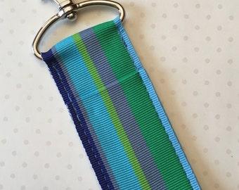 Beach Glass Ribbon Chapstick Holder- Blue and Green Stripe Key Fob