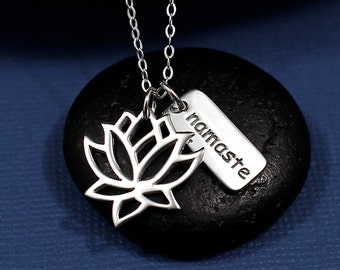 Lotus Namaste Necklace Sterling Silver | Lotus Flower Jewelry | Yoga Necklace | Yoga Jewelry | Namaste Necklace | Namaste Jewelry
