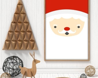 Christmas Santa printable poster. Jolly Father Christmas face winter decor, A4, A3, 8x10 and 11x14 pdf, instant download