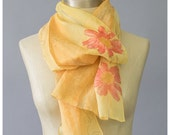 SALE Vintage Floral Print Scarf Chiffon Scarf Gold Scarf Sheer Scarf Yellow Scarf Womens 90s Scarf Oblong Scarf Neck Scarf Floral Scarf