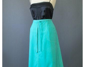 SALE - Vintage 70s Skirt Wrap Skirt Hippie Skirt Aqua Blue Skirt 1970s Skirt Cotton Skirt Boho Skirt Midi Skirt Wrap Around Skirt