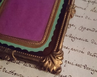 Beautiful antique French repousse gilded tole photograph frame c1900 BELLE BROCANTE attic find