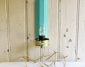 Vintage Turquoise Metal Wall Pin-Up Lamp - Mid-Century 1960s - Aqua with Goldtone Trim