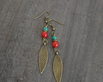 Boucles d'oreilles feuille vert - Leave earrings - Red - Aqua - Turquoise earrings - Bohemian jewelry - Vintage inspired - Coco Matcha