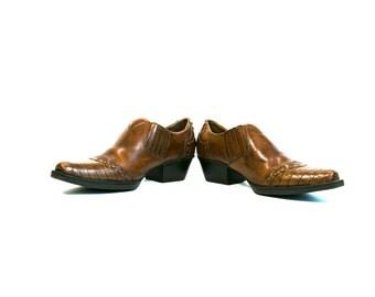 Size 7 1/2 US 39 1/2 EUR Vintage Vtg 1980's Women's Western Ankle Boots Leather Uppers Faux Crocodile Alligator Skin Hipster Boho