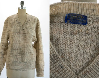 Vintage 1980's Pendleton Cream Colored V Neck Sweater Men's Size Medium Fall / Winter Wool Made in the USA