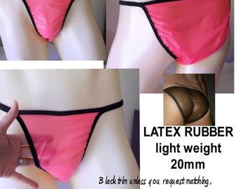 Men's LATEX RUBBER String Bikini Brief Seamless Exotic FETISH 16 Fun Shiny Jelly Colors