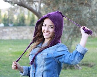 Womens Pom Pom Hat, Knit Pixie Hat women, pixie beanie, Womens knit hat, Dark purple beanie women, Pom Knit hat, Gnome hat, Pixie beanie