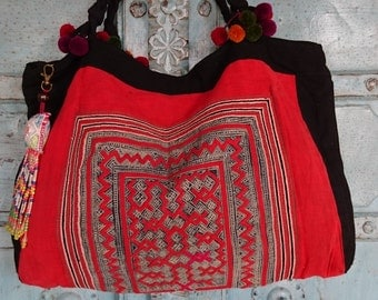 Vintage Handmade Hmong baby carrier bag Ethnic Batik Tribal embroidery Summer tote