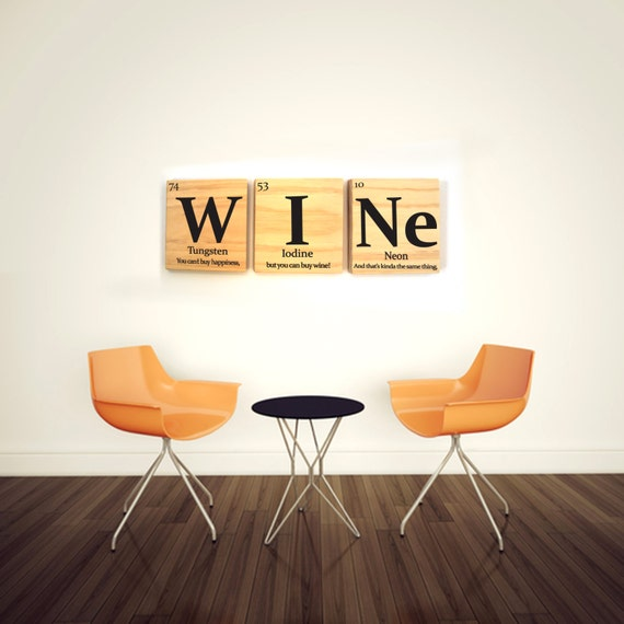 Wine periodic table wooden tile wall art with quote periodic like this item urtaz Choice Image