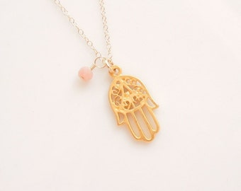 Gold Hamsa Necklace with Pink Opal