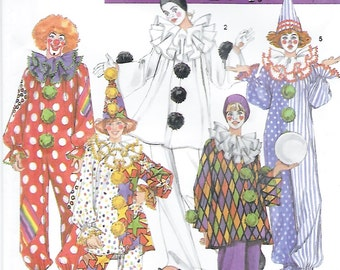 Simplicity 9800 Adult Clown Costume & Hat Sewing Pattern Chest Bust 32 to 42