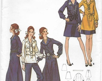 Butterick 5928 Misses' 70s Dress or Tunic Skirt & Pants Sewing Pattern Size 12 Bust 34
