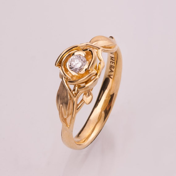 Rose Engagement Ring No 3 14K Gold and Diamond engagement
