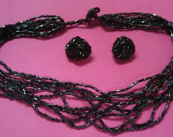 SUPER SALE Hematite Bead Necklace and Clip on Earrings