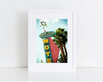 Holiday Lodge Neon Sign Photo - Mid Century Modern Motel Sign - Los Angeles - Fine Art