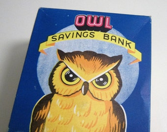 Vintage Wise Owl Savings Bank Plastic NIB